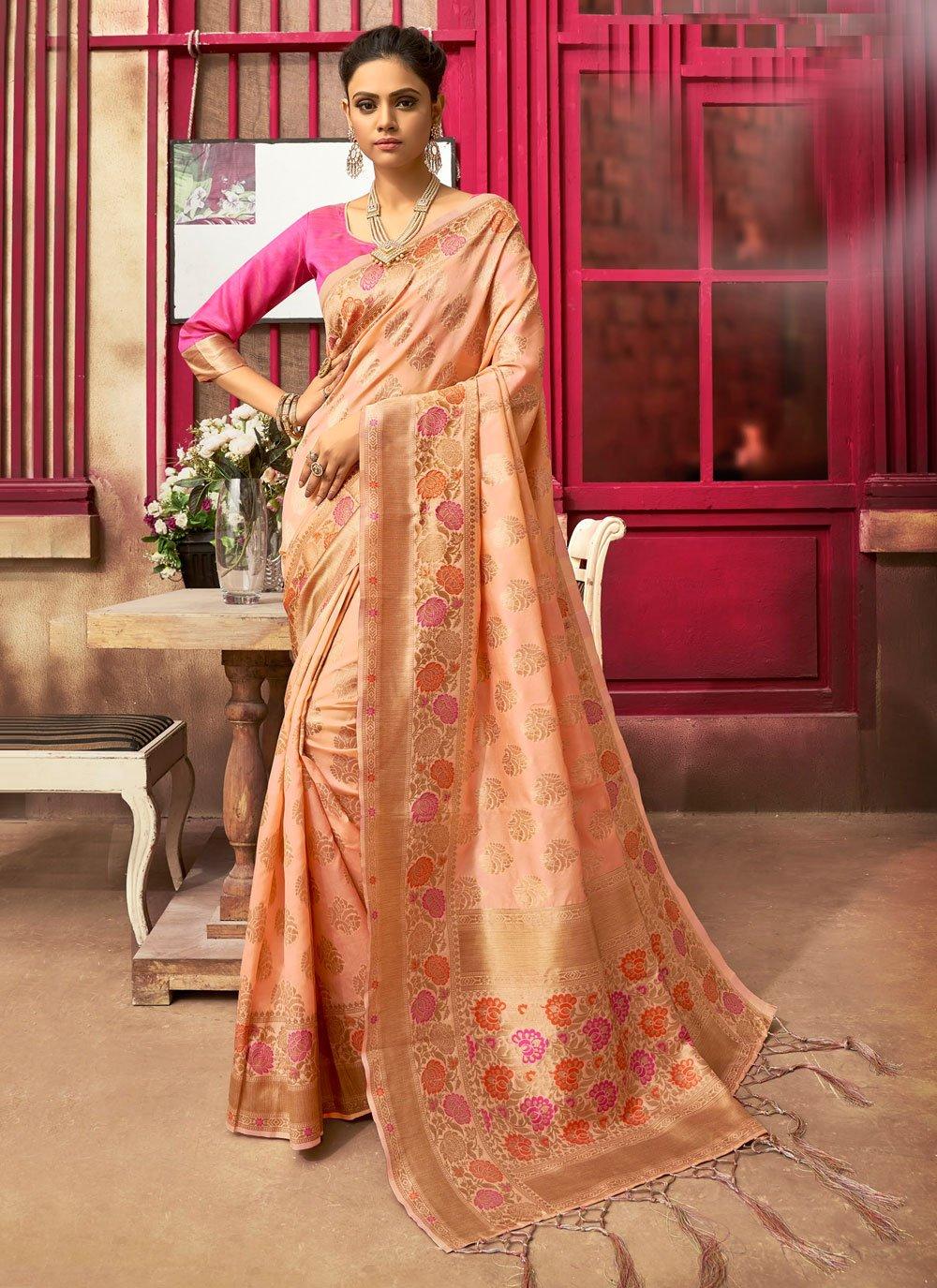 Peach Jacquard Silk Ceremonial Classic Designer Saree