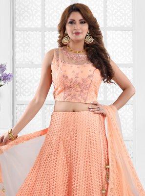 Peach Mehndi Net Readymade Lehenga Choli