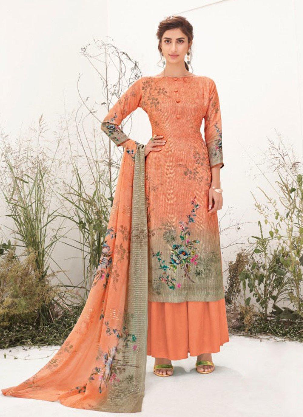Peach Muslin Designer Palazzo Suit