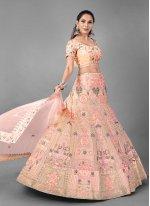 Peach Net Sangeet Lehenga Choli