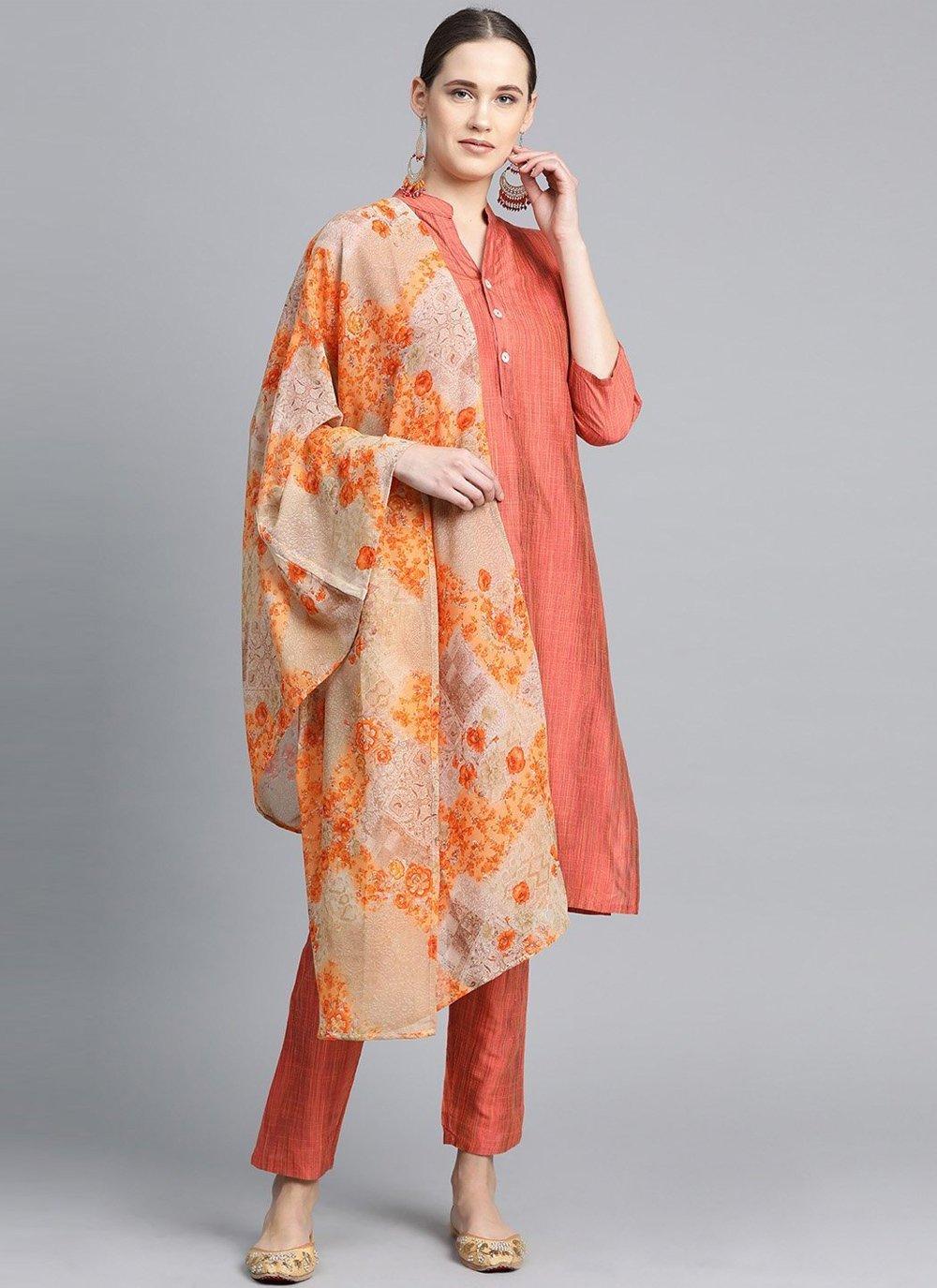 Peach Plain Festival Designer Suit