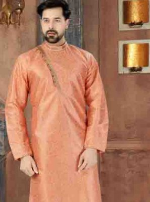 Peach Plain Reception Kurta Pyjama