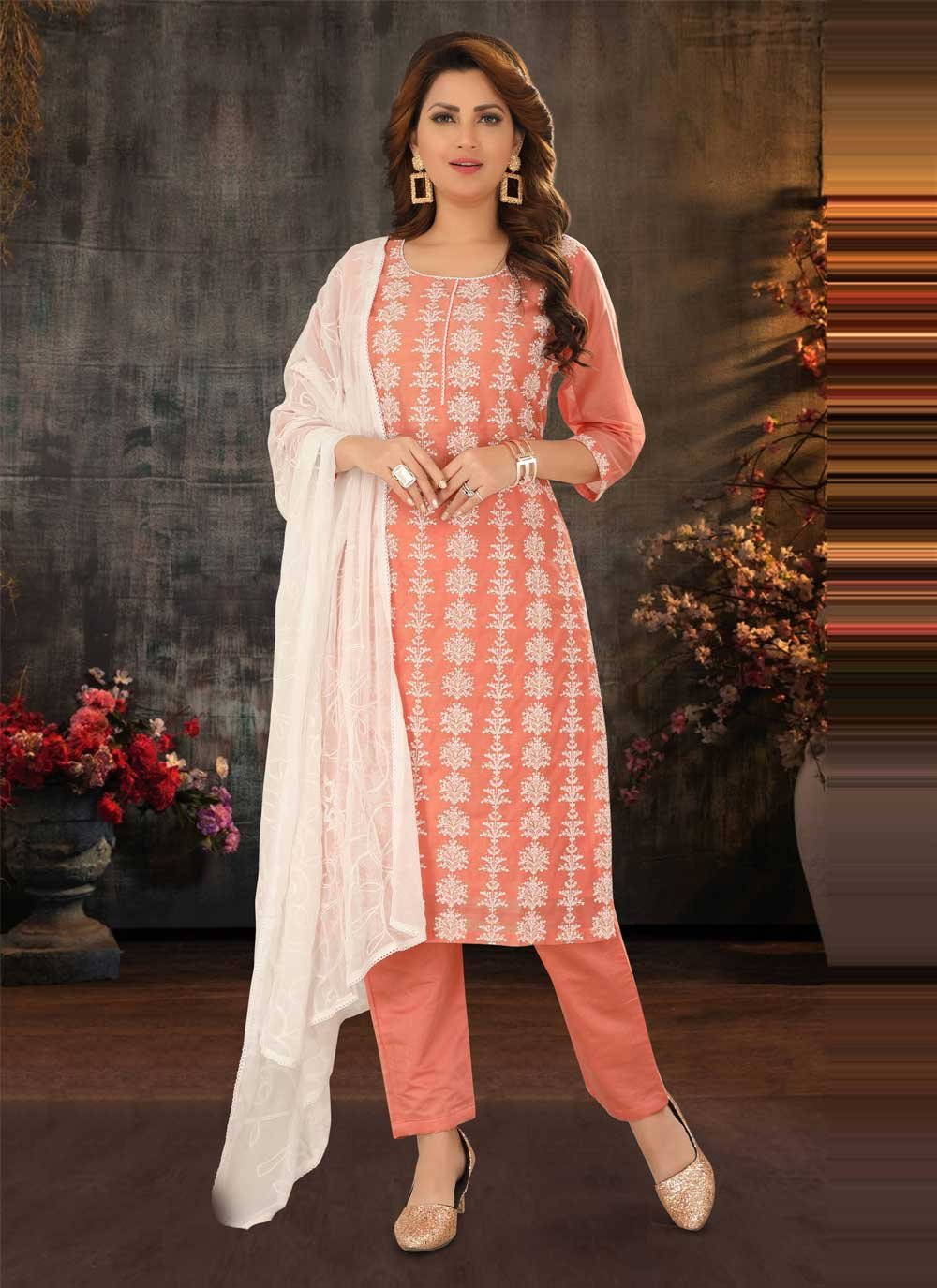 Peach Poly Cotton Readymade Suit