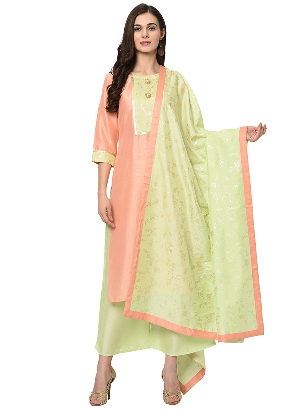 Peach Print Poly Silk Readymade Suit