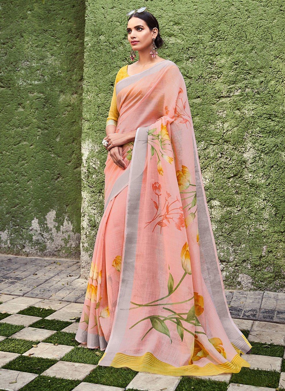 Peach Printed Silk Saree