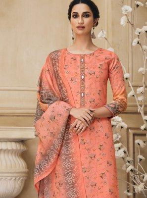 Peach Resham Cotton Bollywood Salwar Kameez