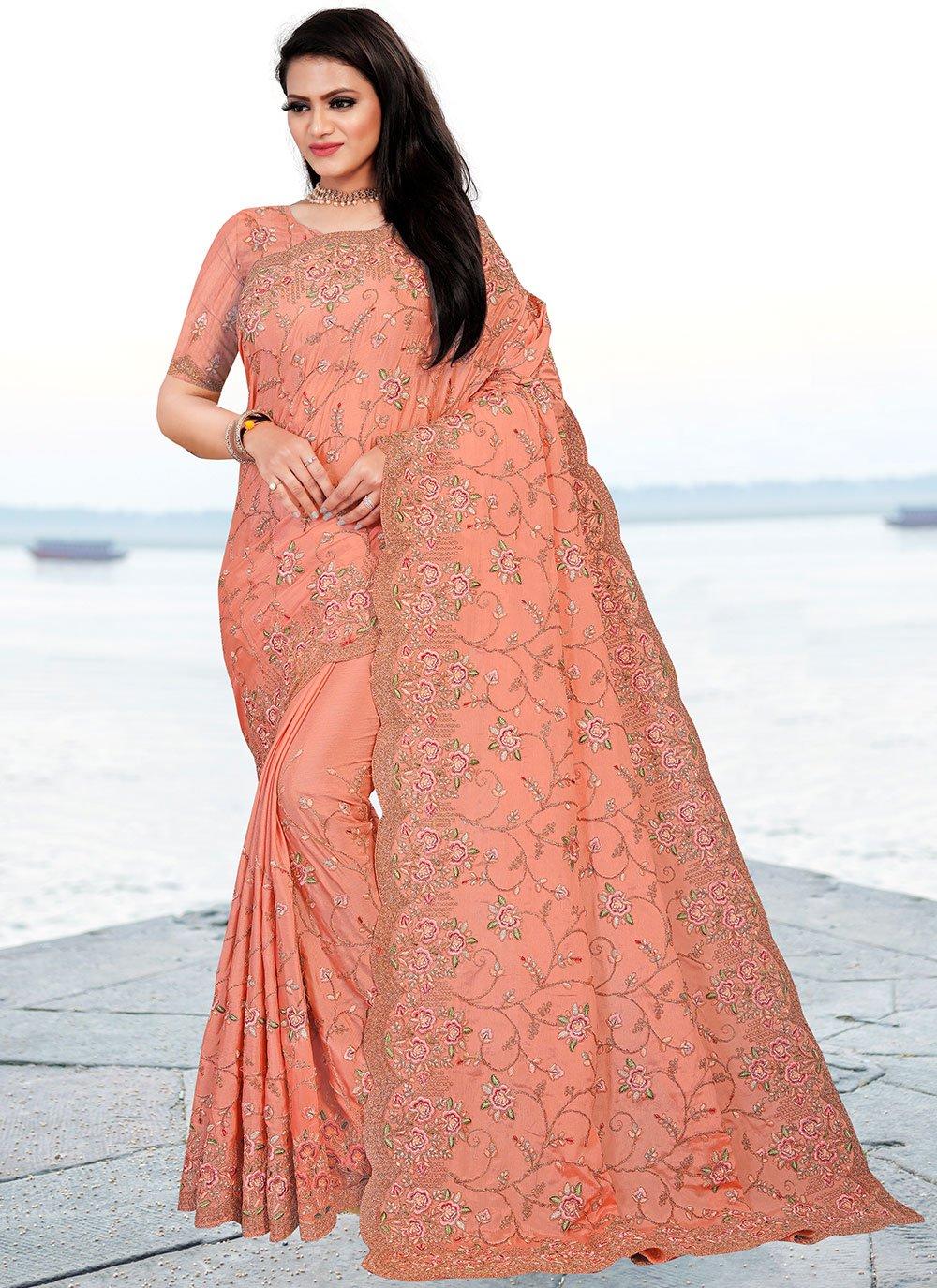 Peach Resham Faux Chiffon Classic Designer Saree