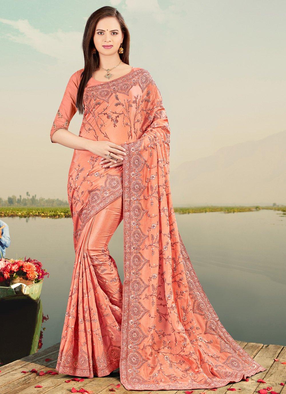 Peach Sangeet Classic Designer Saree