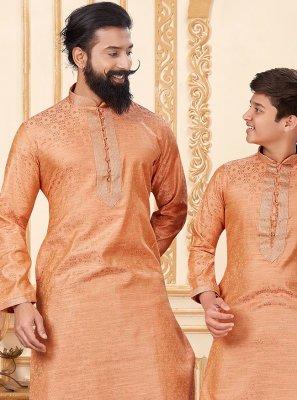Peach Sangeet Jacquard Silk Dhoti Kurta