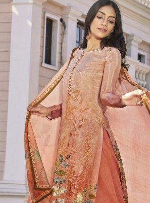 Peach Satin Designer Pakistani Suit