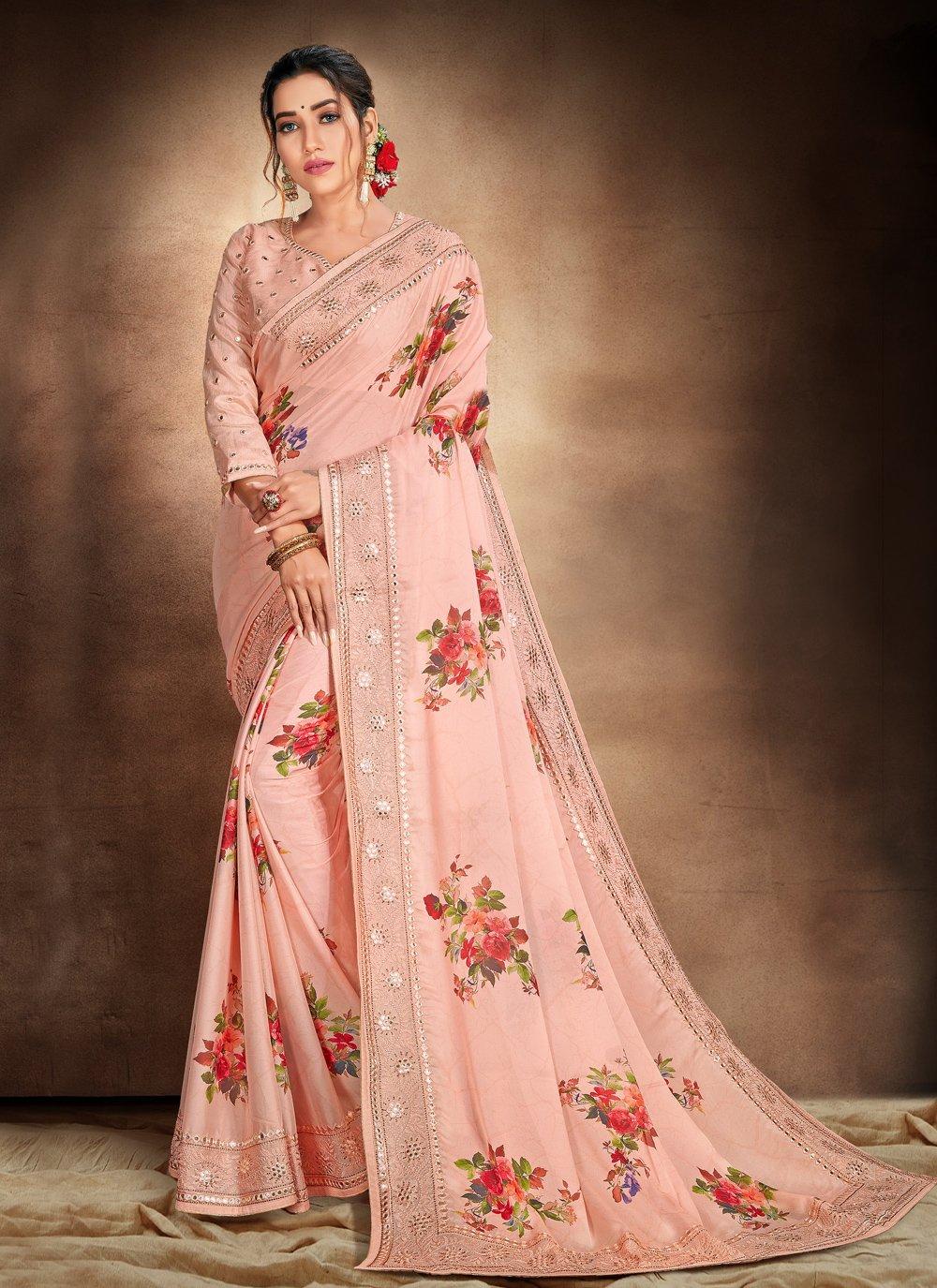 Peach Satin Printed Saree