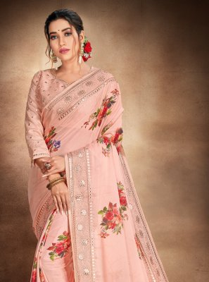 Peach Satin Printed Saree