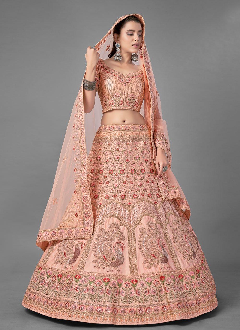 Peach Satin Wedding A Line Lehenga Choli