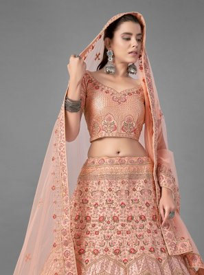Peach Satin Wedding A Line Lehenga Choli