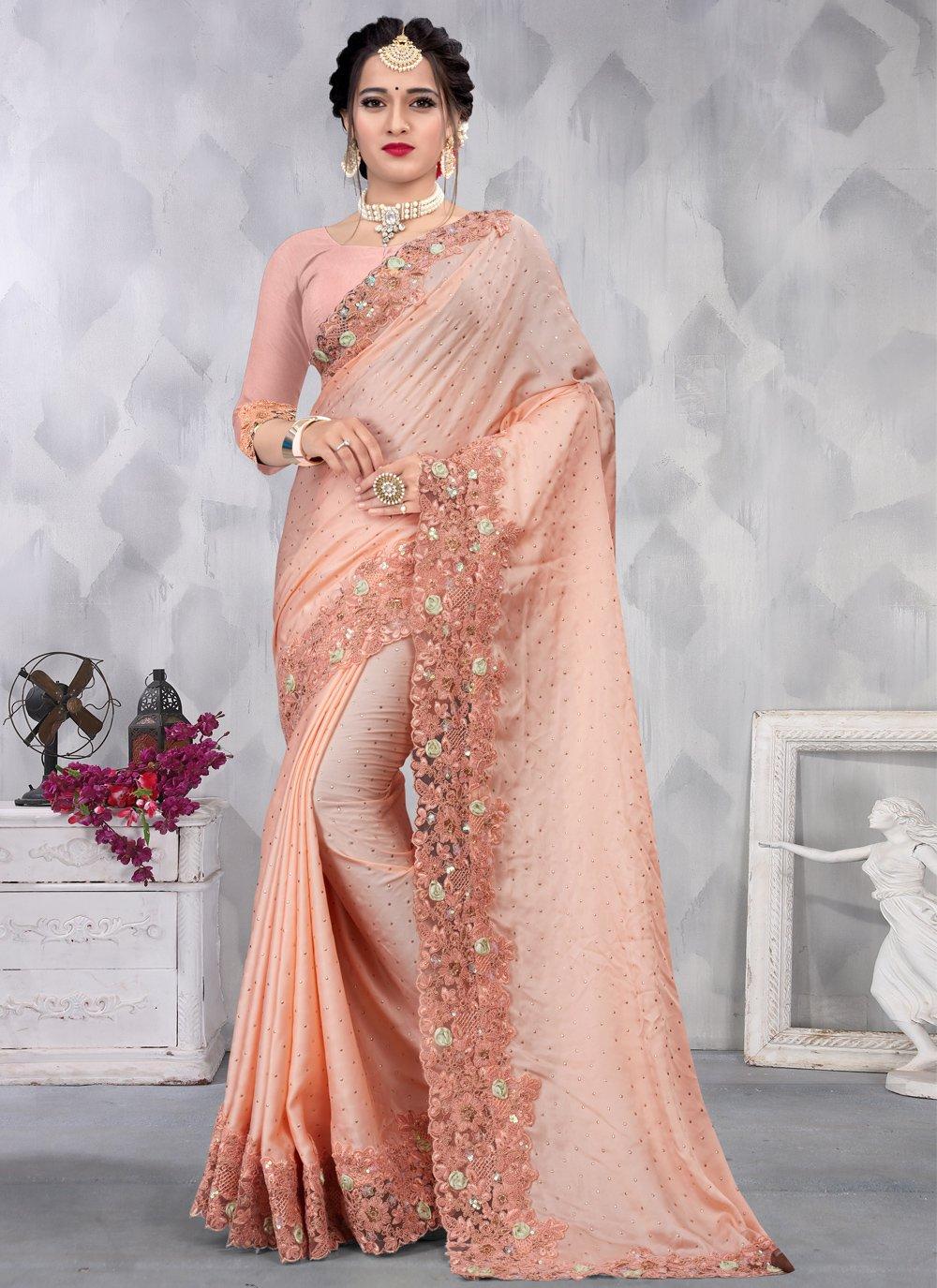 Peach Sequins Classic Designer Saree