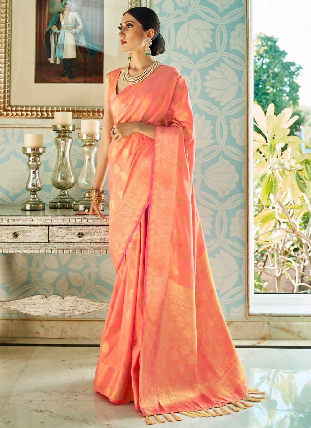 Peach Silk Designer Traditional Saree