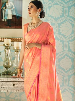Peach Silk Designer Traditional Saree