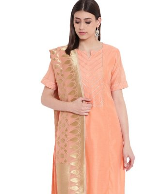 Peach Silk Fancy Party Wear Kurti