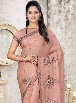 Peach Silk Festival Designer Traditional Saree