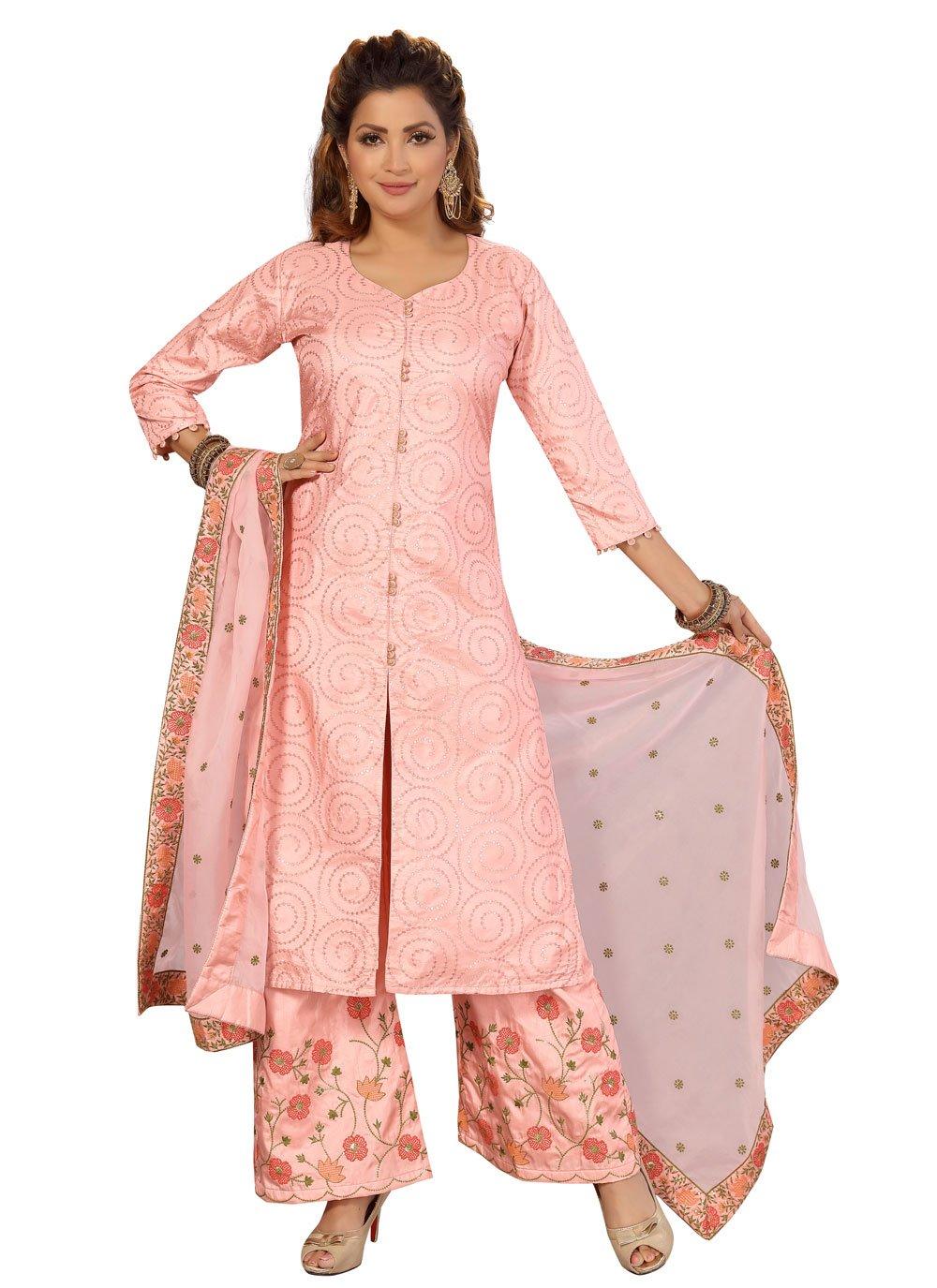 Peach Silk Readymade Suit