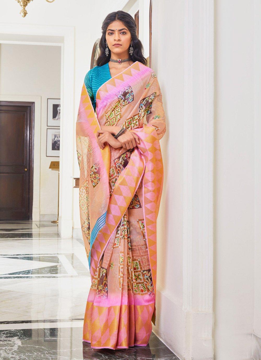 Peach Traditional Saree