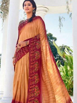 Peach Vichitra Silk Casual Saree