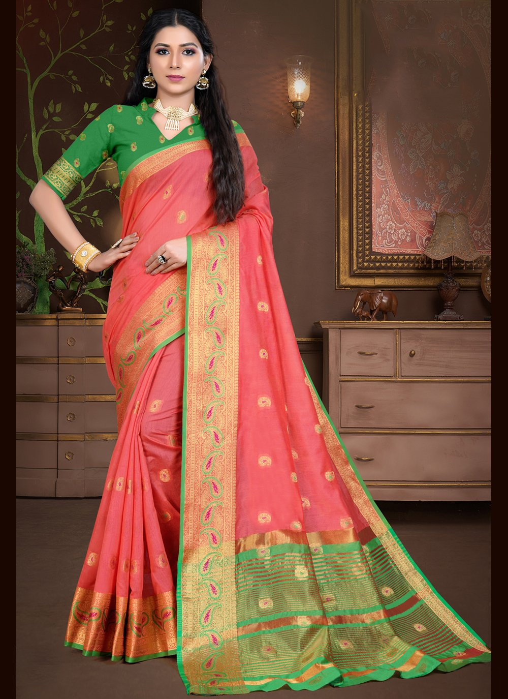 Peach Weaving Designer Traditional Saree