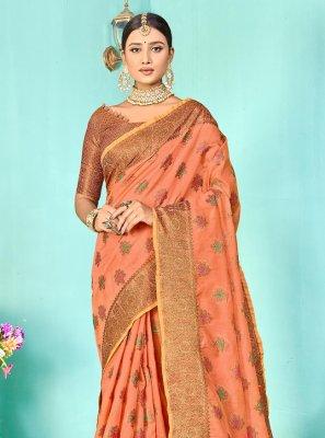 Peach Weaving Silk Designer Traditional Saree