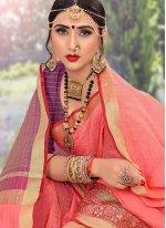 Peach Woven Classic Designer Saree