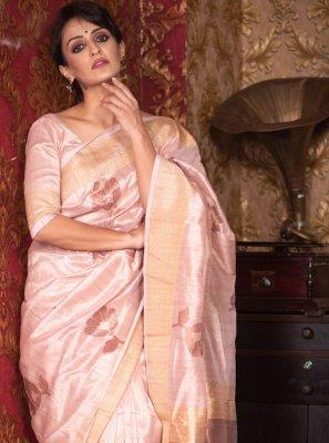 Peach Woven Designer Traditional Saree