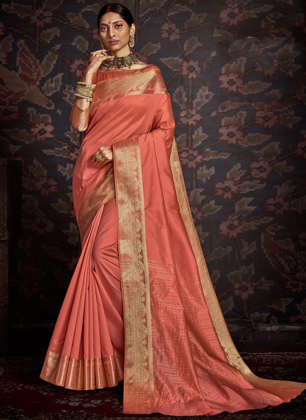 Peach Woven Silk Traditional Saree