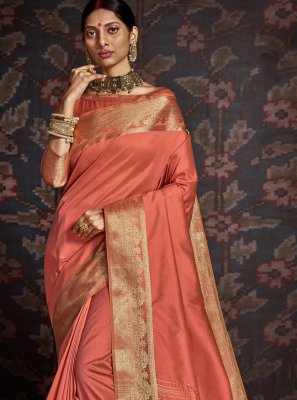 Peach Woven Silk Traditional Saree