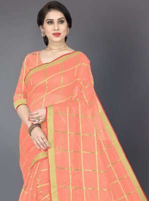 Peach Zari Cotton Casual Saree