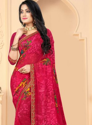 Pink Abstract Print Faux Georgette Printed Saree