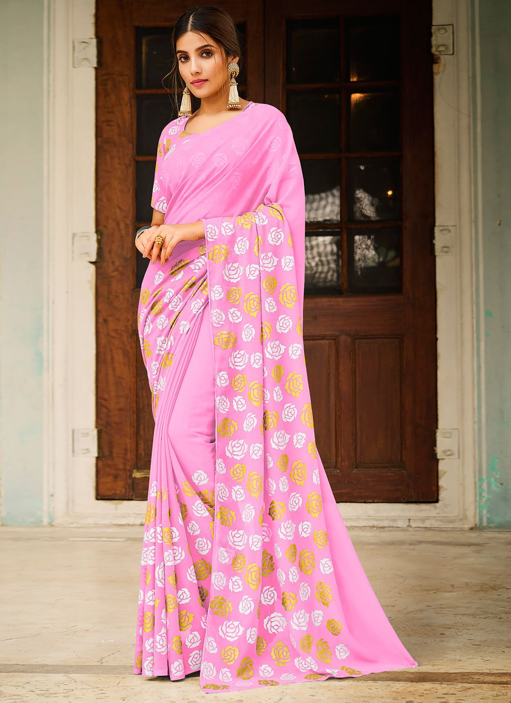 Pink Abstract Print Festival Saree