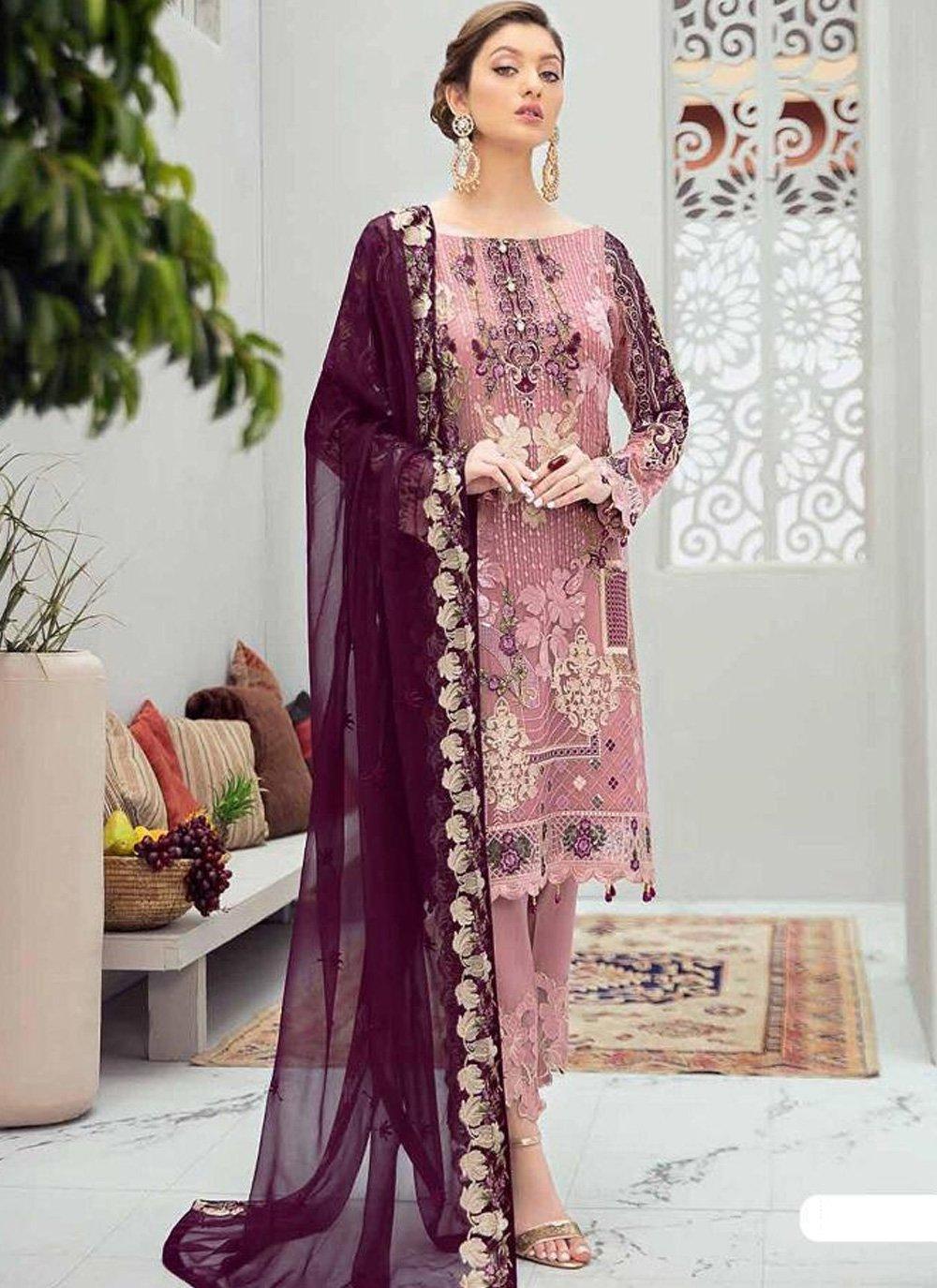 Pink and Purple Embroidered Net Designer Pakistani Suit