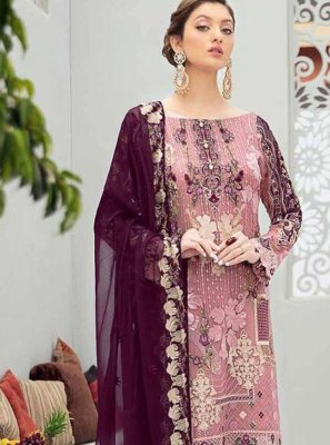Pink and Purple Embroidered Net Designer Pakistani Suit