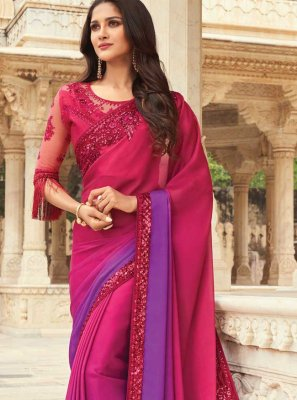 Pink and Purple Embroidered Silk Shaded Saree