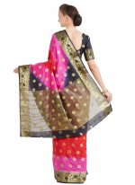 Pink and Red Art Silk Festival Designer Traditional Saree