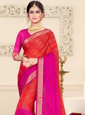 Pink and Red Brasso Festival Shaded Saree
