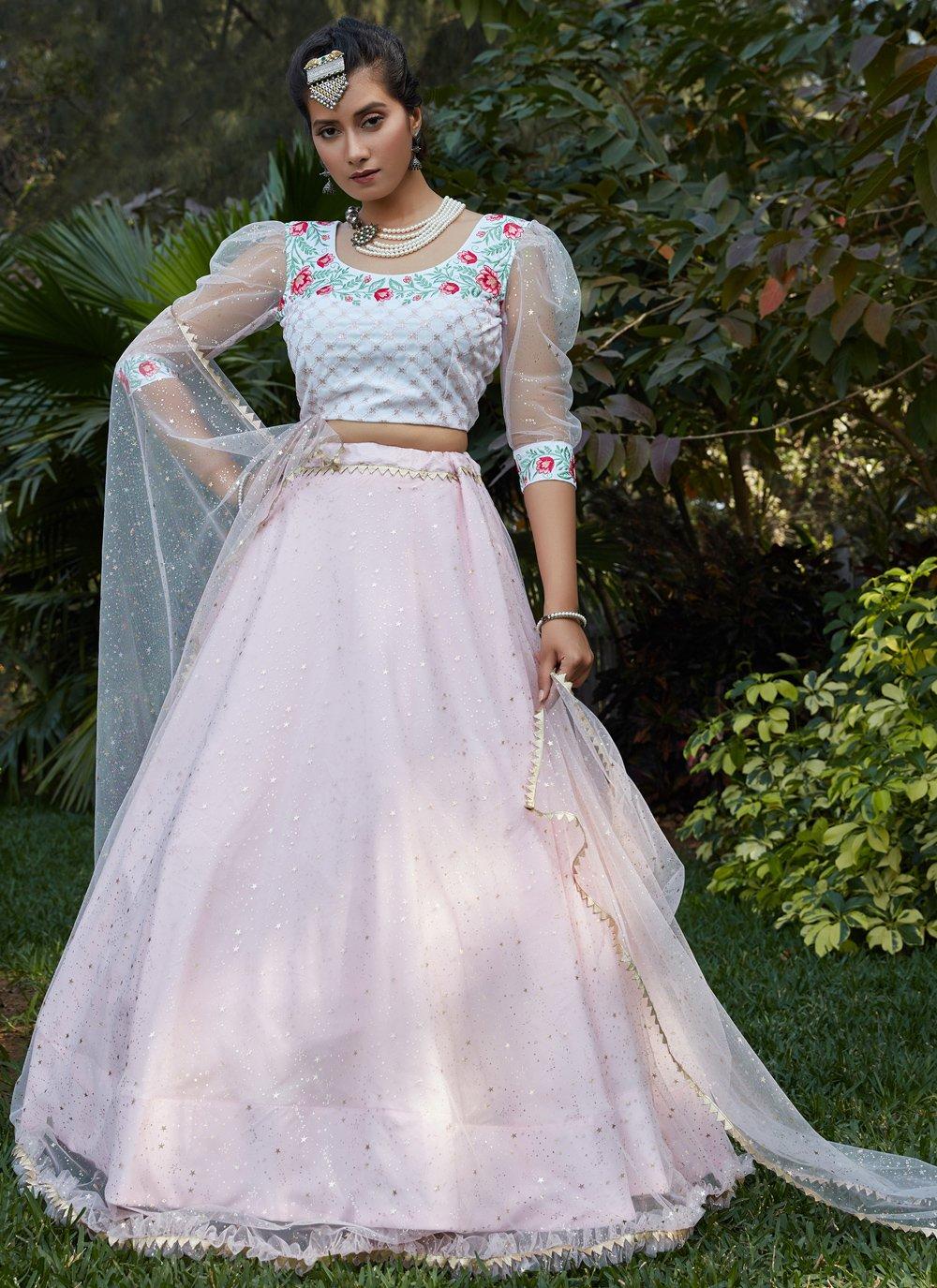 Pink and White Color Lehenga Choli