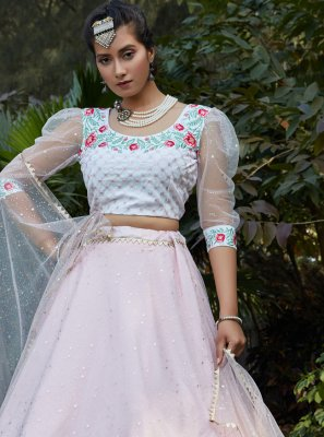 Pink and White Color Lehenga Choli