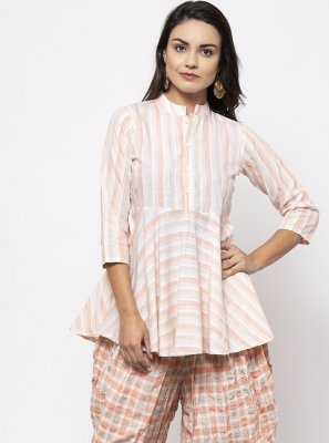 Pink and White Festival Designer Kurti
