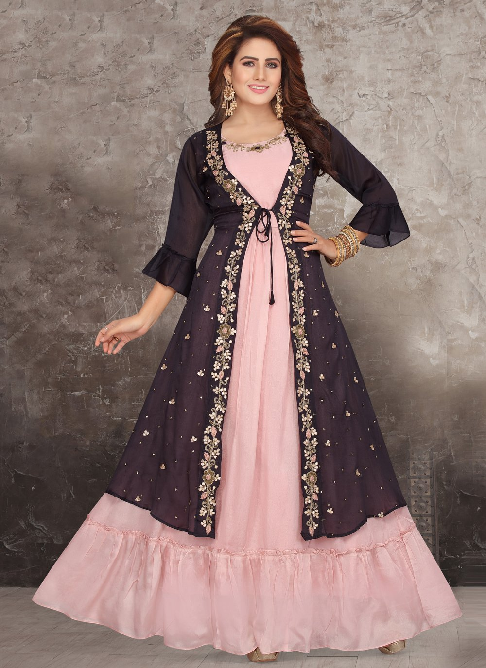 Pink and Wine Color Party Wear Kurti