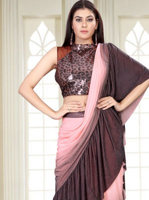 Pink and Wine Sequins Shaded Saree