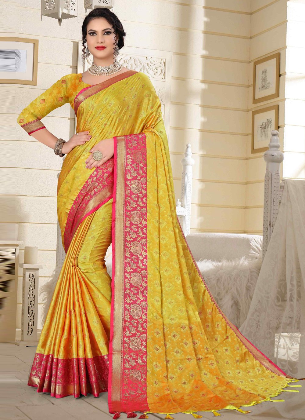 Pink and Yellow Cotton Silk Festival Traditional Designer Saree