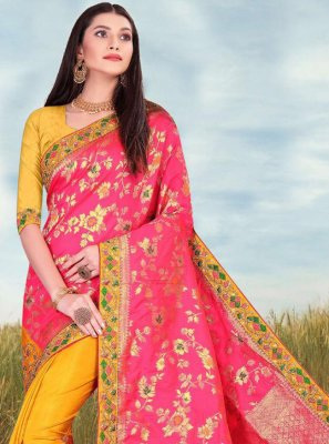 Pink and Yellow Fancy Fabric Ceremonial Half N Half Designer Saree