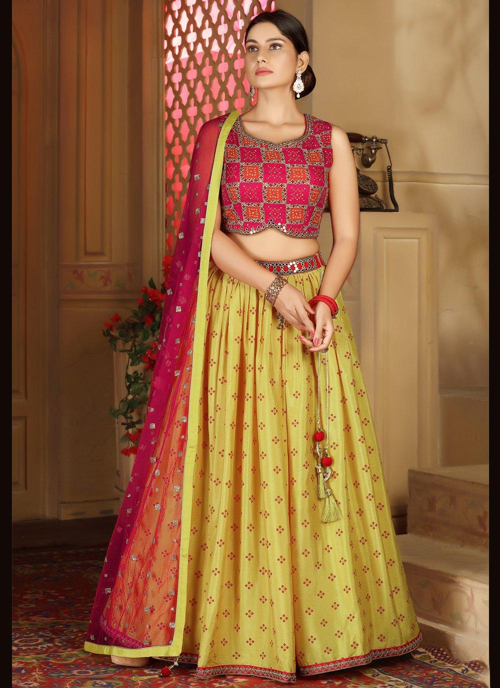 Pink and Yellow Fancy Sangeet Readymade Lehenga Choli