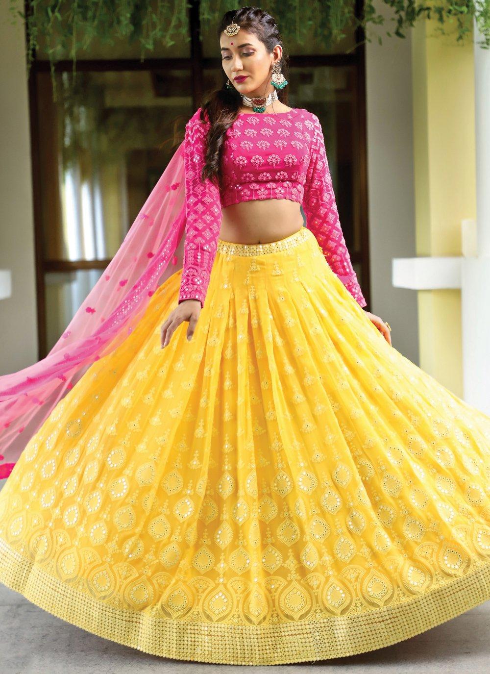 Pink and Yellow Wedding Bamber Georgette  Readymade Lehenga Choli