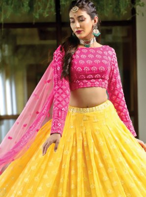 Pink and Yellow Wedding Bamber Georgette  Readymade Lehenga Choli